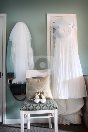 Wedding Dress, Wedding Veil, Shoes  stock photo, A Brides Dress, Shoes and Veil for her wedding day. by Candice Connor