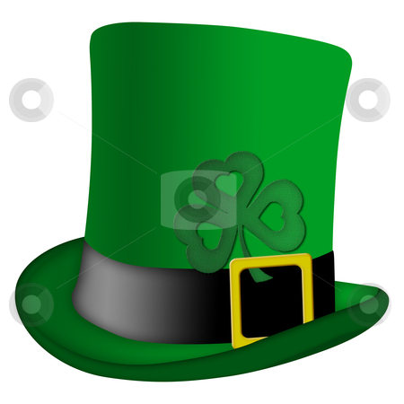 St Patricks Day Leprechaun Irish Hat stock photo, St Patricks Day Leprechaun Irish Green Hat with Shamrock Illustration by Thye Gn
