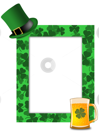 St Patricks Day Leprechaun Hat Beer Shamrock Frame stock photo, St Patricks Day Leprechaun Green Hat Shamrock Beer Picture Frame Illustration by Thye Gn