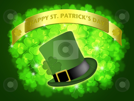St Patricks Day Leprechaun Hat Banner Shamrock stock photo, St Patricks Day Leprechaun Hat Banner with Shamrocks Bokeh Illustration by Thye Gn