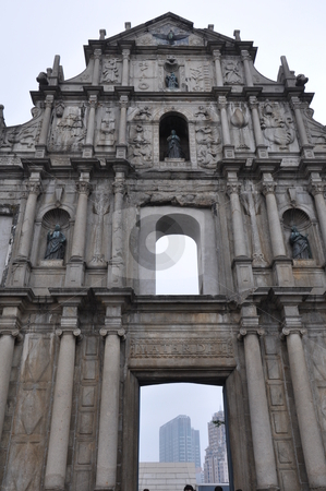 Ruins of St. Paul's Cathedral stock photo, Ruins of St. Paul's Cathedral in Macau  by Ritu Jethani