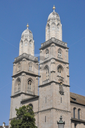 Grossmunster Church in Zurich stock photo, Grossmunster Church in Zurich, Switzerland by Ritu Jethani