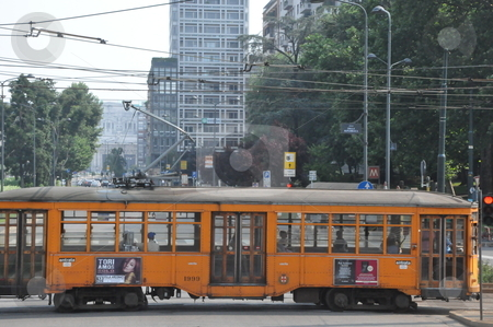 Old Trams in Milan stock photo, Old Trams in Milan, Italy by Ritu Jethani