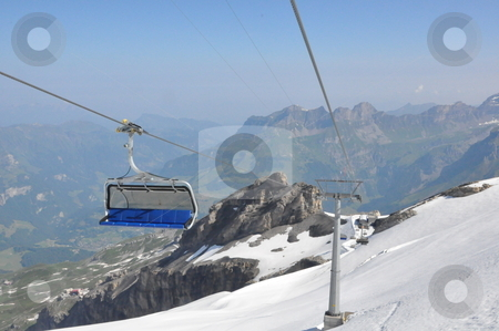 Chairlifts at Mount Titlis stock photo, Chairlifts at Mount Titlis, Switzerland by Ritu Jethani