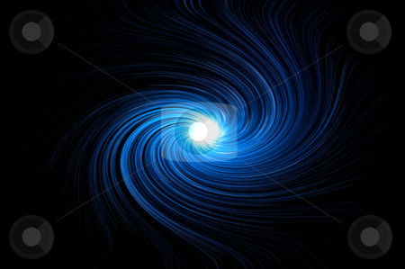 Blue swirl stock photo, Abstract blue swirling light against black background. by Samantha Craddock
