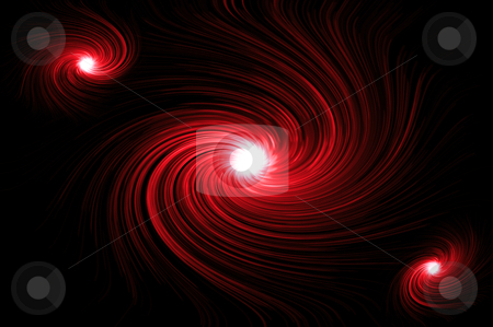Vibrant red swirls stock photo, Abstract red swirling lights against black background. by Samantha Craddock