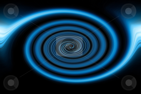 Abstract blue swirl stock photo, Blue abstract large swirl against black background. by Samantha Craddock