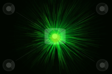 Green time travel stock photo, Vibrant green motion blur light effect against black by Samantha Craddock