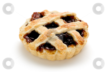 Mince Tart stock photo, Single mince tart on white background. by Glenn Price
