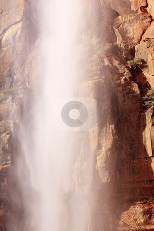 Falling Water Weeping Rock Waterfall Red Rock Wall Zion Canyon N stock photo, Falling Water Weeping Rock Waterfall Red Rock Wall Zion Canyon National Park Utah Southwest  by William Perry