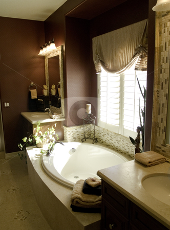 Interior Design stock photo, Richly designed bedroom master bathroom by Cora Reed