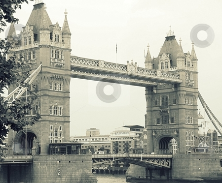 Tower Bridge stock photo, The Tower Bridge in London, England in black and white by Cora Reed