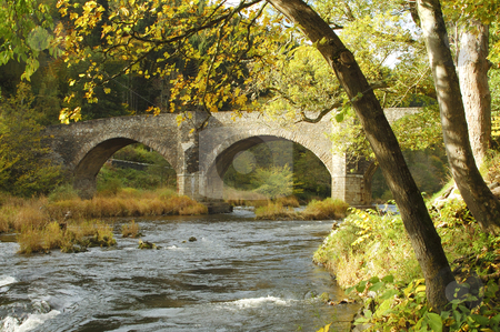 Yair bridge on the river Tweed in autumn stock photo, Yair Bridge with river Tweed below in autumn sinlight by Denovan