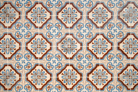 Traditional Portuguese glazed tiles stock photo, Detail of Portuguese glazed tiles. by Homydesign