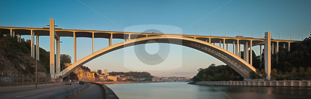 Ponte da Arrabida Bridge stock photo, Panoramic view of Ponte da Arrabida Bridge in Porto, Portugal. by Homydesign