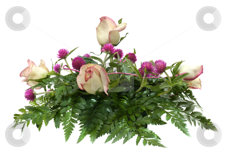 Bouquet of roses stock photo, Bouquet of roses on white background. by Homydesign