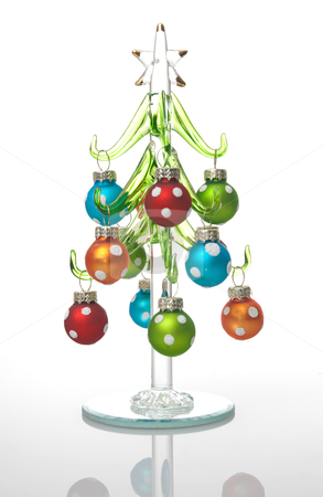 Glass Christmas tree stock photo, Colorful glass Christmas tree isolated on white background. by Homydesign