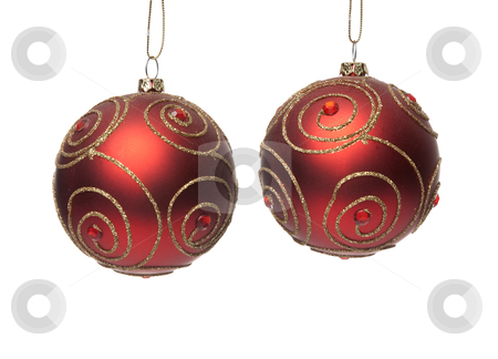 Two red Christmas balls stock photo, Two red Christmas balls isolated on white background. by Homydesign 