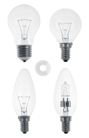 Four Light bulbs stock photo, Four Light bulbs isolated on white background. by Homydesign