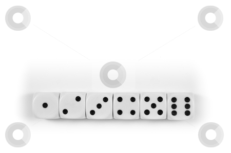 Black and white dice stock photo, one to six faces in a white dice row by Alberto Rigamonti