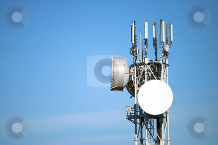 Antenna stock photo, Modern antenna with flat paraobla on blue sky by Alberto Rigamonti
