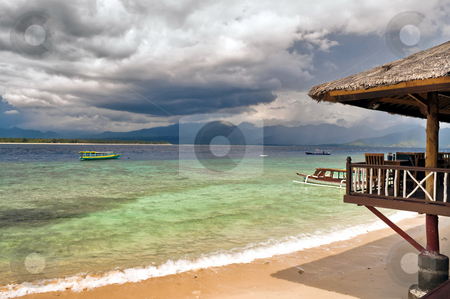 Wonderful tropical beach resort stock photo, Tropical beach resort on the Gili Islands in Indonesia by Alberto Rigamonti
