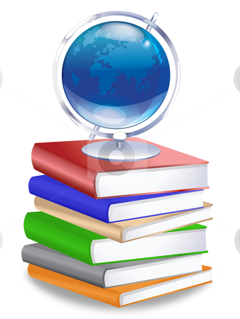 Earth Globe on Stack of Books stock photo, Earth Globe on Stack of Reference Text Books Illustration by Thye Gn