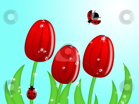 Ladybug Climbing Up Tulip Flower Stem stock photo, Red Ladybug Climbing Up Tulip Flower Stem Illustration by Thye Gn