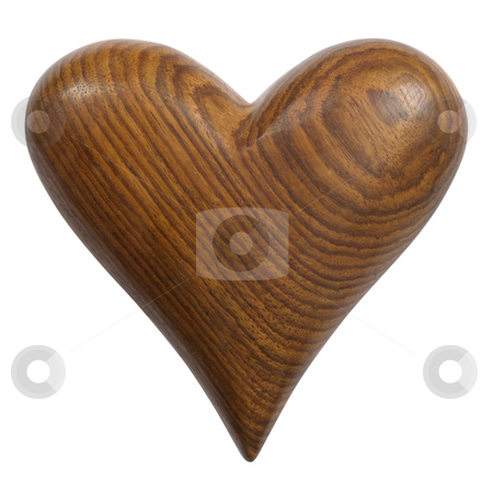 Wooden Heart stock photo, Photo of a carved wooden heart, isolated on a white background. Two photos merged for large file. Clipping path included. by © Ron Sumners