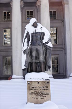 Albert Gallatin Statue After Snow US Treasury Department Washing stock photo, Albert Gallatin Statue After Snowstorm Winter US Treasury Department Washington DC by William Perry