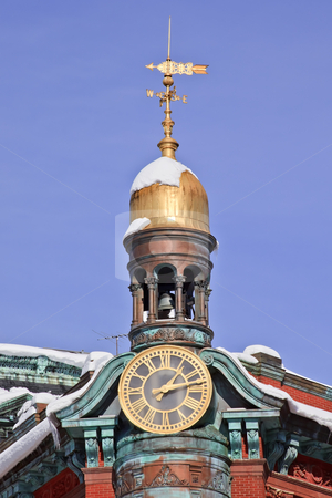 Sun Trust Building Cupola Weather Vane 15th Avenue New York Aven stock photo, Sun Trust Building Cupola Tower Golden Weather Vane 15th Avenue and New York Avenue Across from Treasury Department Famous Historic Building Built 1867 After the Snow Washington DC by William Perry