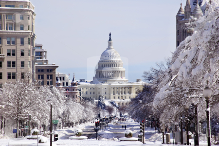 US Capital Pennsylvania Avenue After the Snow Washington DC stock photo, US Capital Pennsylvania Avenue After the Snow Washington DC Traffic Lights by William Perry