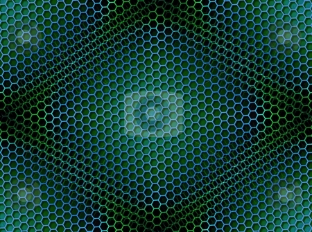 Honeycomb Background Seamless Blue Green stock photo, Seamless blue green honeycomb on brown background with light effect. by Henrik Lehnerer