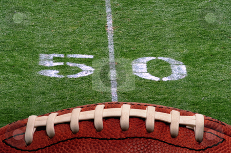 Fifty Yard Line stock photo, Football and the fifty yard line. by WScott