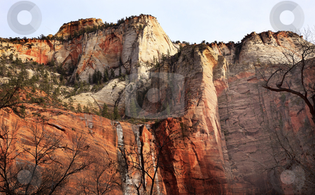 Temple of Sinawava Red Rock Wall Zion Canyon National Park Utah  stock photo, Temple of Sinawava Red White Rock Wall Zion Canyon National Park Utah Southwest  by William Perry