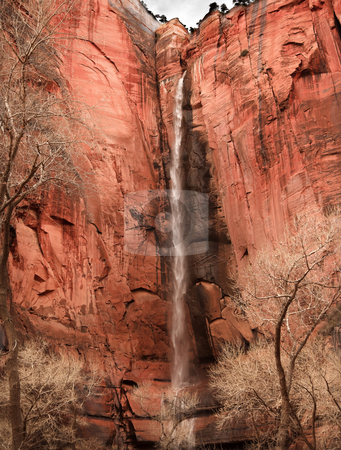 Temple of Sinawava Waterfall Red Rock Wall Zion Canyon National  stock photo, Temple of Sinawava Waterfall Red Rock Wall Zion Canyon National Park Utah Southwest  by William Perry