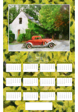 free yearly calendar 2011. 2011 Annual Calendar - Vintage