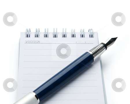 Pen on notebook, isolated on white background. stock photo, Pen on notebook, isolated on white background. by Andrey Zyk
