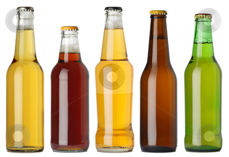 Blank beer bottles stock photo, Photo of five different full beer bottles with no labels. Separate clipping path for each bottle included. Five separate photos merged together. by &copy; Ron Sumners