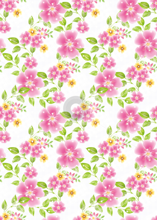Seamless floral background 008 stock photo, Vivid repeating floral background   by Tang Shu-chuan