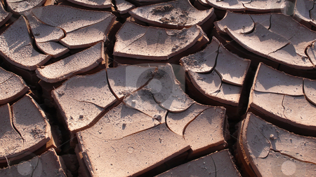 Dried and cracked earth stock photo, Closeup view of dried and cracked earth by John Young