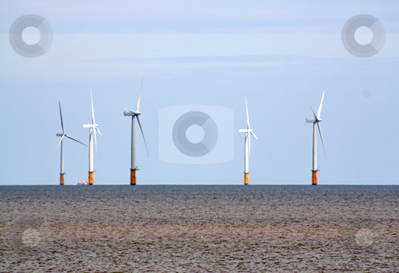 Wind turbines 1 stock photo, wind turbines in skegness uk by lizapixels