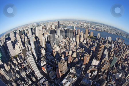 New York cityscape with fisheye stock photo, Photo of New York city taken from the Empire State Building with a fisheye lens.