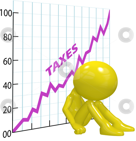 High tax increase chart ruin 3D taxpayer stock photo, A chart shows high income tax burden increases ruin a 3D taxpayer. by Michael Brown