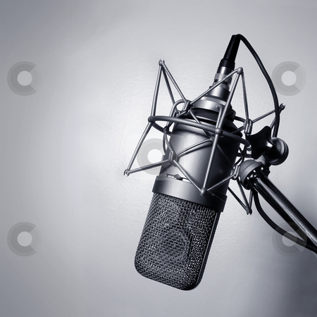 Studio microphone stock photo, Black and white image of a studio microphone. by © Ron Sumners