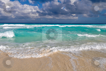 Beautiful Cancun Beach stock photo, Beautiful Beach Ocean in Cancun, Mexico by Brandon Bourdages