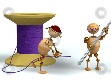 3d man and purple bobbin with needle stock photo, 3d wood man and purple bobbin with needle by vetdoctor