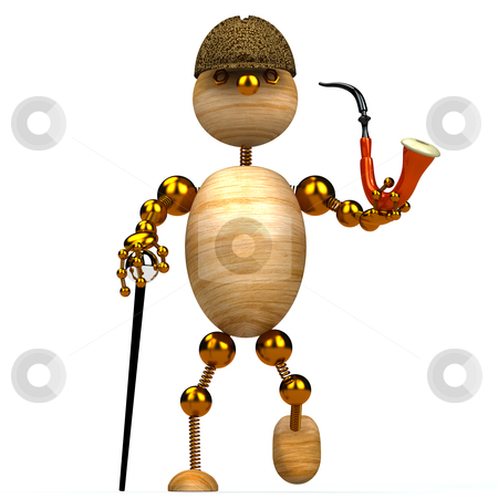 3d wood man as a detective stock photo, 3d wood man as a detective isolated on white by vetdoctor