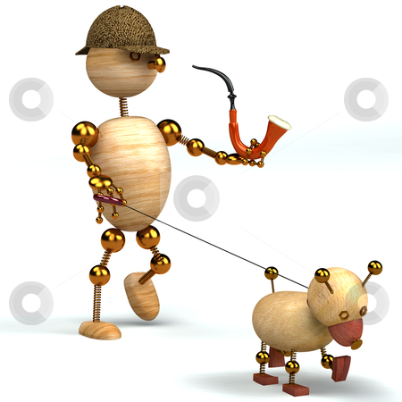 3d wood man as a detective stock photo, 3d wood man as a detective with pipe and dog by vetdoctor