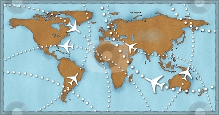 Airline planes travel flights air traffic world map stock photo, Air travel flight paths dotted lines on world map as commercial airline passenger jets fly air traffic by Michael Brown